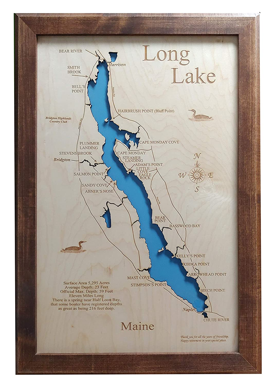 Framed Wood Map Wall Hanging Long Lake Maine