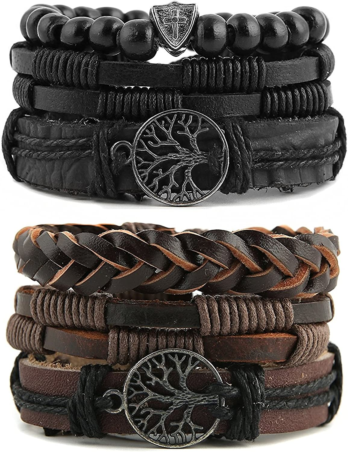 HZMAN Genuine Leather Tree of life Bracelets Men Women, Tiger Eye Natural Stone Lava Rock Beads Ethnic Tribal Elastic Bracelets Wristbands