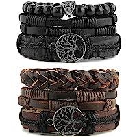 HZMAN Genuine Leather Tree of life Bracelets Men Women, Tiger Eye Natural Stone Lava Rock Beads Ethnic Tribal Elastic…