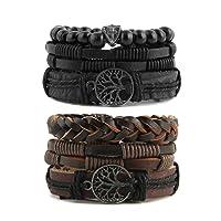 HZMAN Mix 6 Wrap Bracelets Men Women, Hemp Cords Wood Beads Ethnic Tribal Bracelets Leather Wristbands