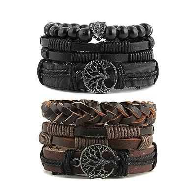 56bbbfba HZMAN Mix 6 Wrap Bracelets Men Women, Hemp Cords Wood Beads Ethnic Tribal  Bracelets Leather Wristbands (Tree of Life)