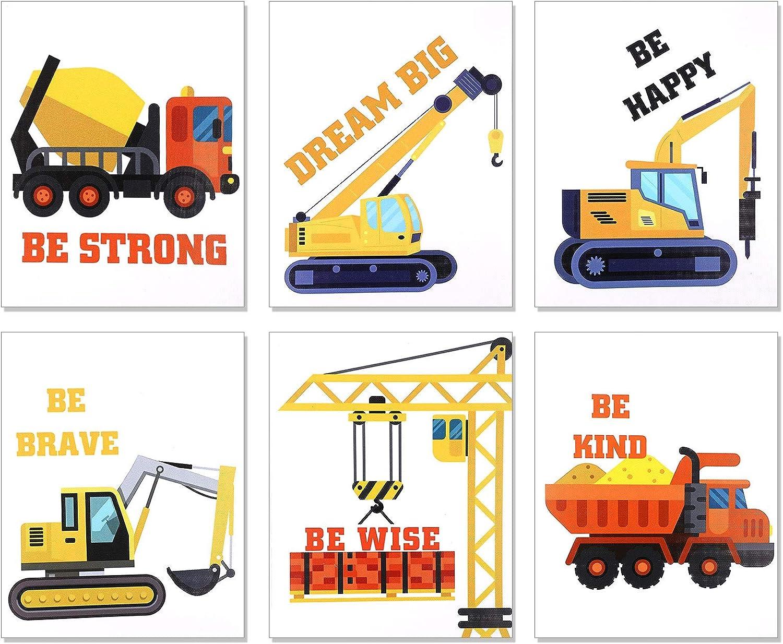 OOTSR 6 PCS Construction Trucks Wall Art Print, Inspirational Quote Canvas Print for Boys Game Room Decor, Playroom, Rec Room Poster, Vehicle Prints,(Unframed, 20 X 25CM)