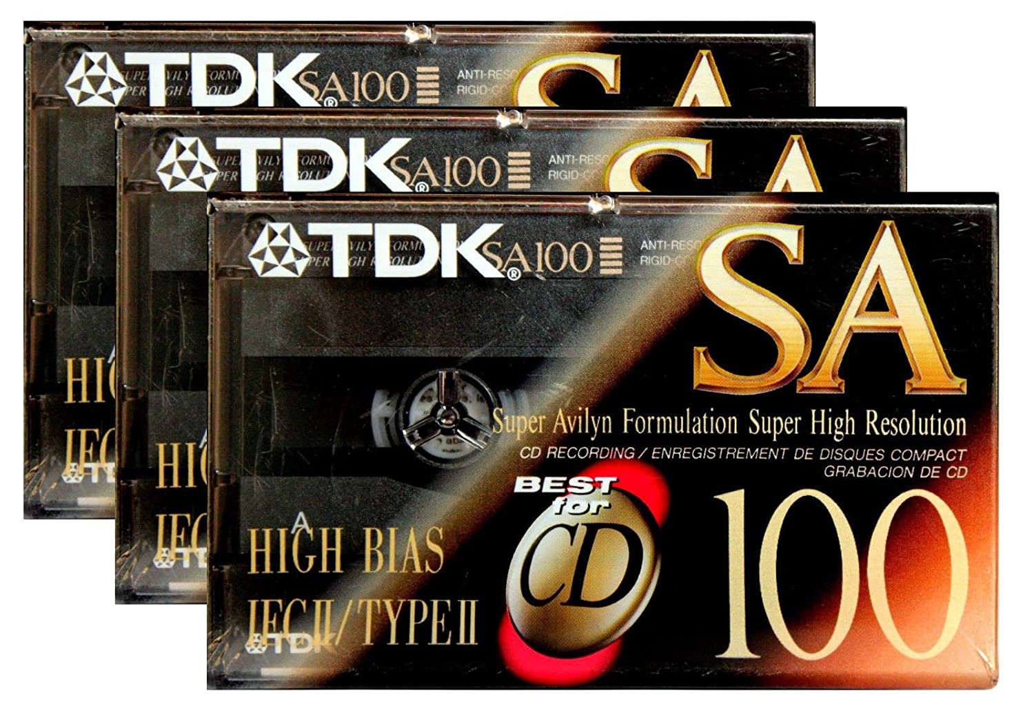 (3-Pack) TDK Sa 100 Audio Cassette Tape Super Avilyn High Resolution SA100 BIAS IEC II TDK Media 4332073842