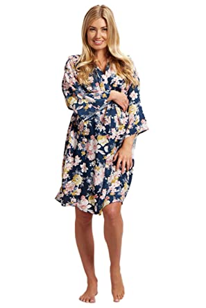 09f2eda2d6037 PinkBlush Maternity Navy Blue Floral Dressing Robe, Small at Amazon Women's  Clothing store: