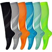 Compressie sokken voor mannen en vrouwen (6 paar) antislip lange buis ideaal voor hardlopen, verpleging, circulatie en…