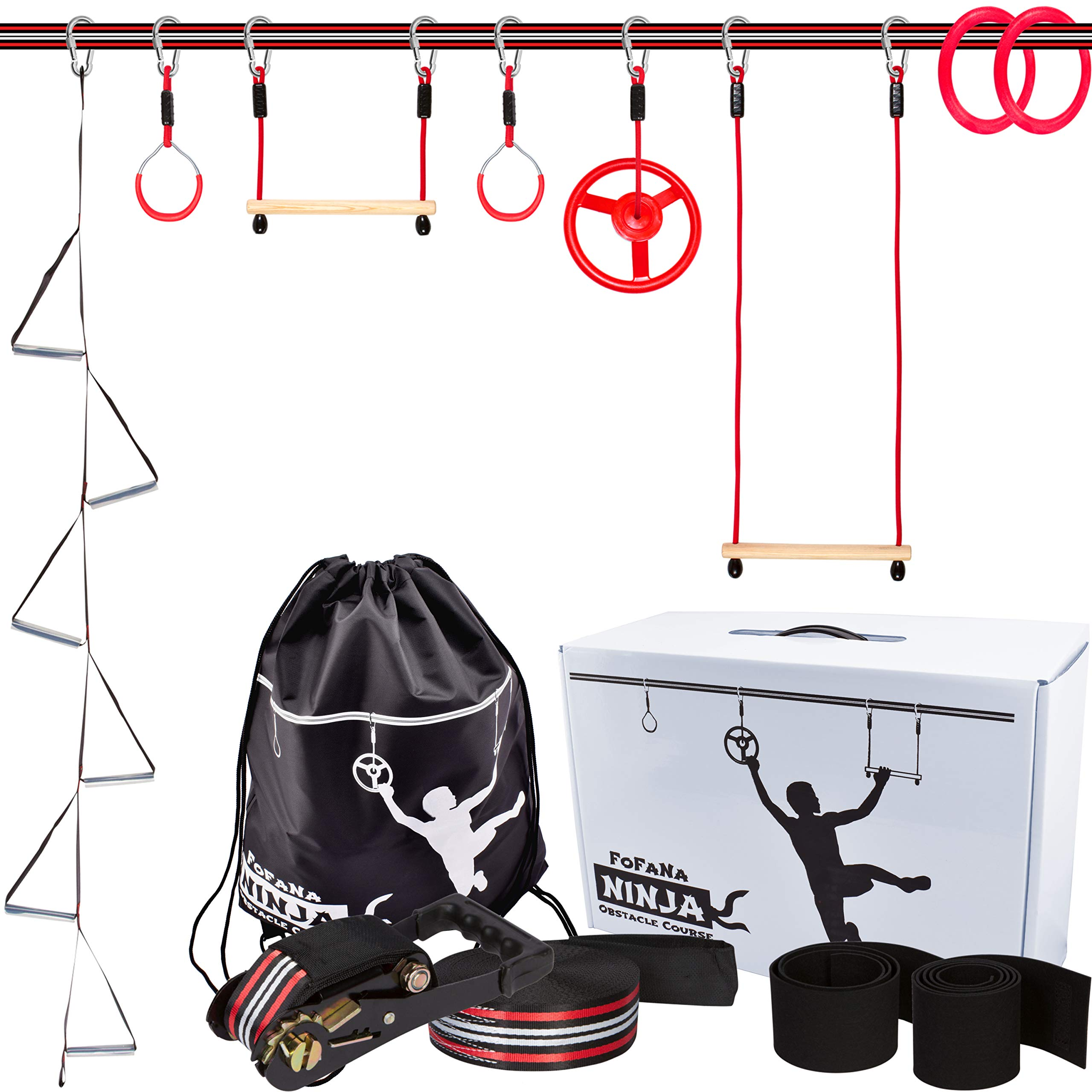 Ninja Warrior Training Equipment for Kids - 65 Foot Ninja Slackline Obstacle Course for Kids with 8 Obstacles: Monkey Bars, Fitness Gymnastic Rings, Climbing Rope Ladder, Spinning Wheel by Fofana