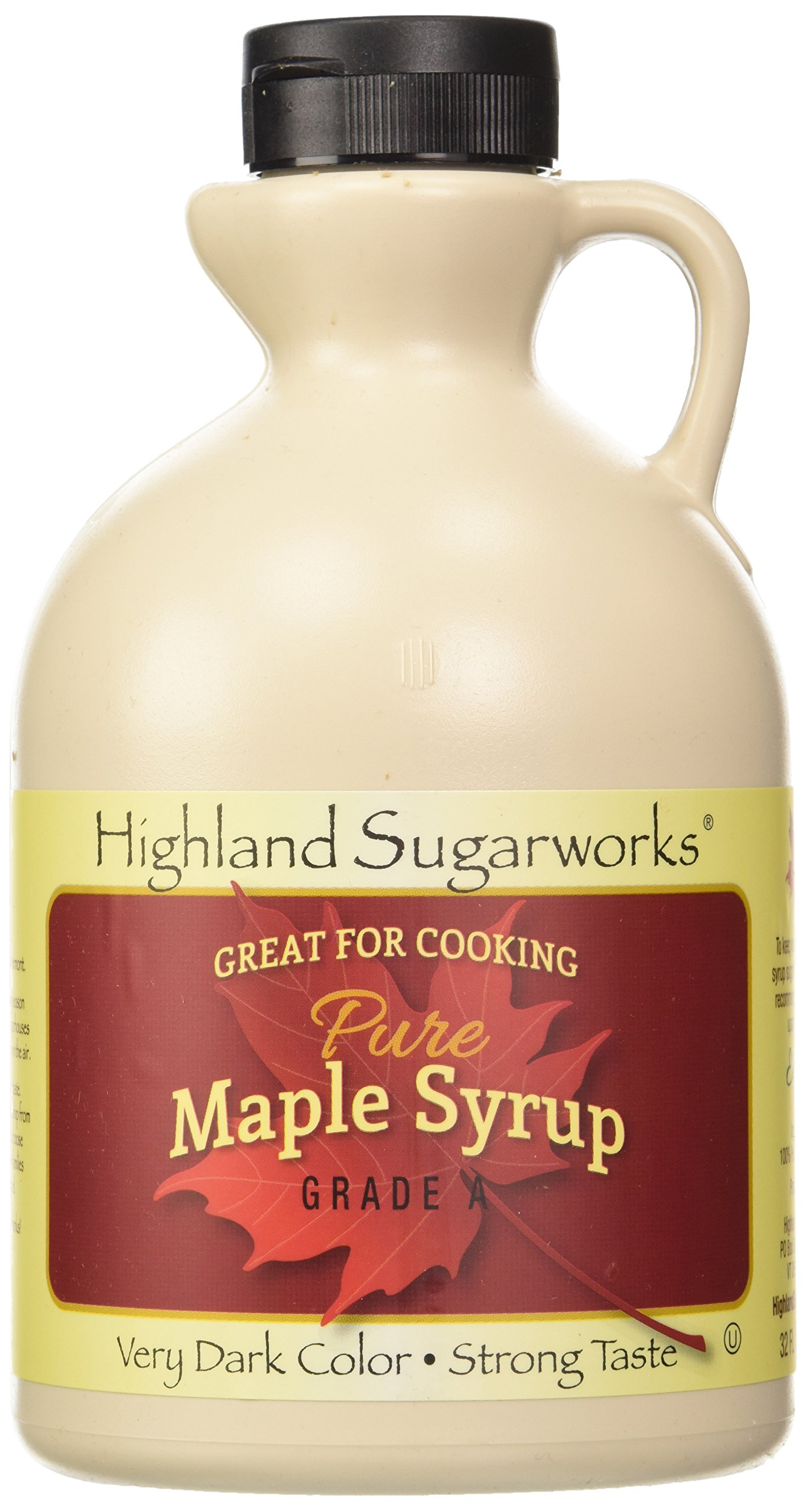 Highland Sugarworks Jug 100% Maple Syrup Pure Very Dark Color Strong Taste, 32 oz (Packing May Vary)