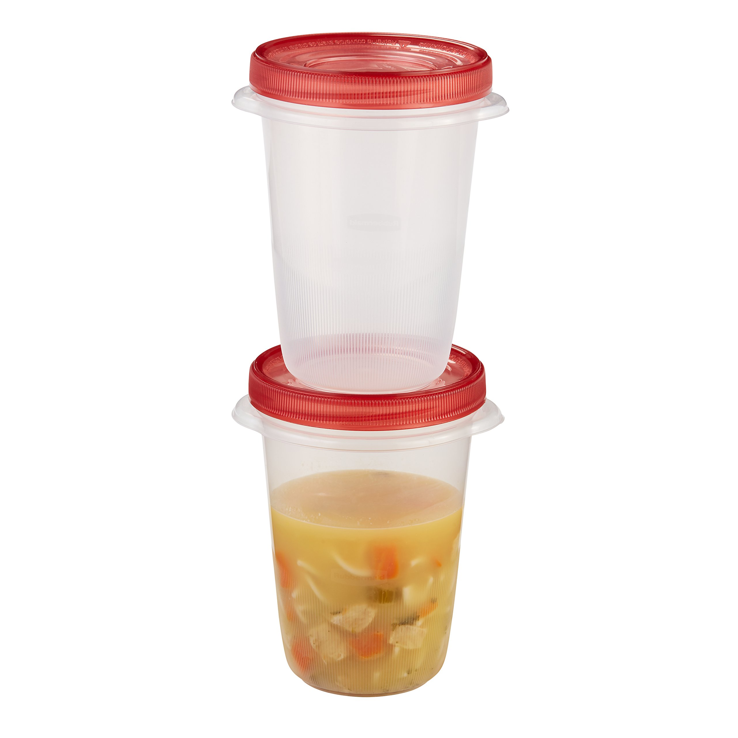 Rubbermaid TakeAlongs 4-Cup Twist & Seal Food Storage Containers, 2-Pack, Chili Red