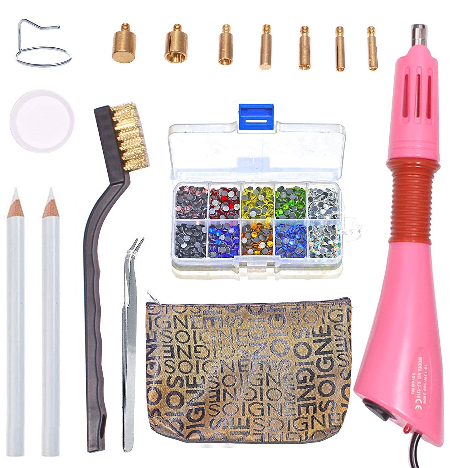 Rhinestone Hotfix Applicator DIY Hot-Fix Applicator Crystal Wand Setter Tool Kit with 7 Different Sizes Tips,Tweezers /& Brush Cleaning kit and 1 Box Hot-Fix Crystal Rhinestones