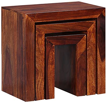 Shilpi Wooden Brown Finish Nesting Stool Set Of 3 Pcs Sheesham Wood Side Table Set Amazon In Home Kitchen