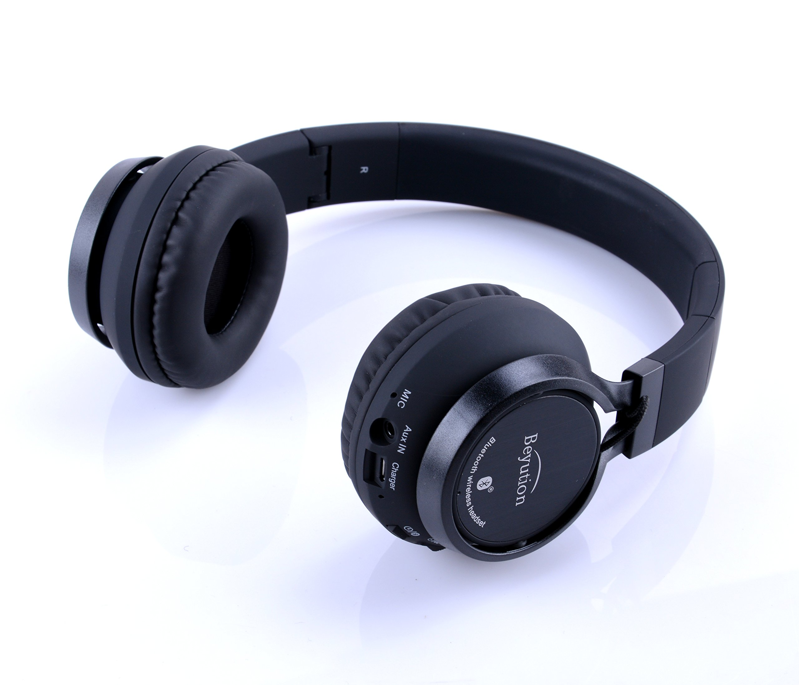 Beyution Black Metal Wireless Bluetooth Headsets Over Ear Bluetooth Headphones with Mic for iPhone 8 X Samsung Smart Phones and All Tablet Laptop with Bluetooth Funcstion (BT525-Black-Metal) by Beyution (Image #5)