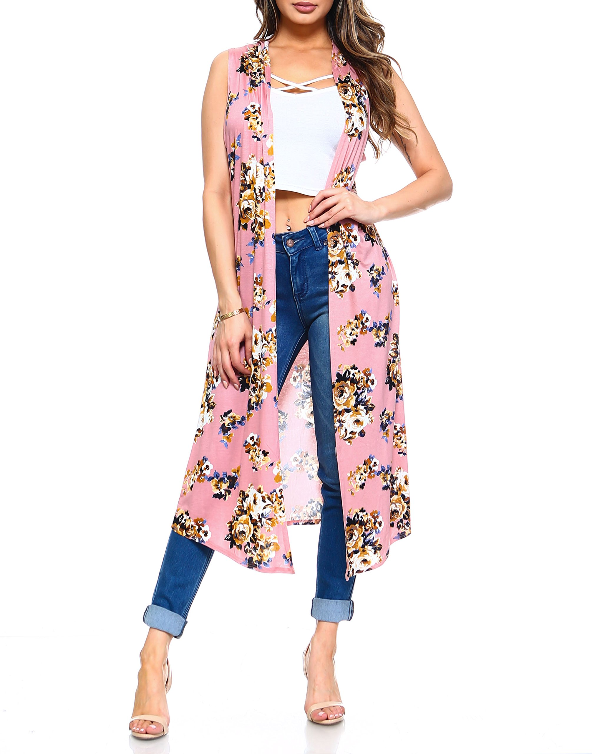 Isaac Liev Women's Floral Long Lightweight Cardigan Duster Vest (Pink Floral, Small)