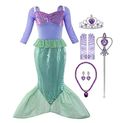 Padete Little Girl Mermaid Princess Costume Sequins Party Dress: Clothing