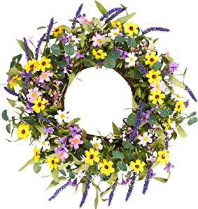 """Artificial Spring Wreath,24"""" Flower Wreath Colorful Daisy Wreath Summer Floral Wreath for Front Door Wall Window Decor and Festival Celebration"""