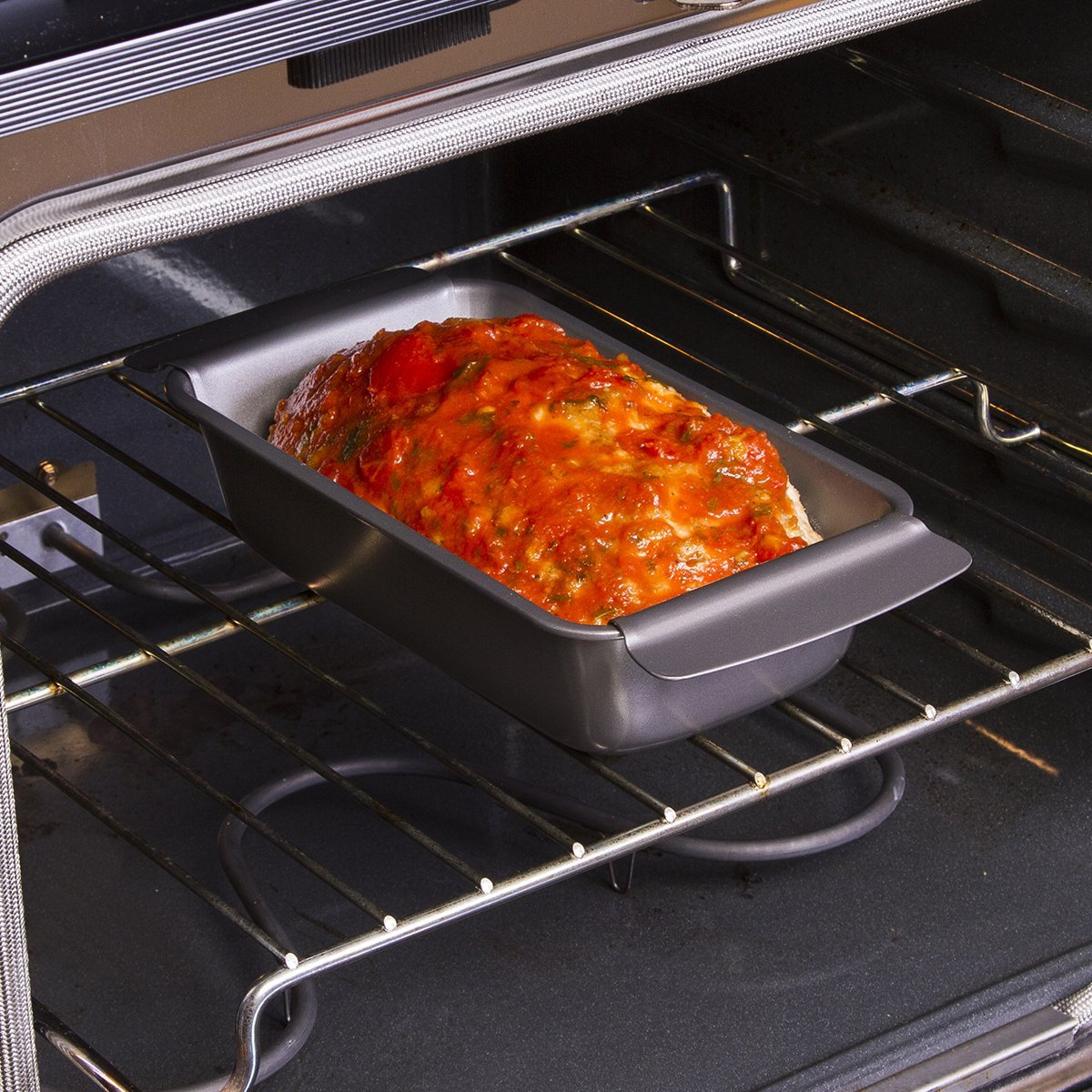 """Loaf Pan and Perforated Tray BPA Gray 9/"""" x 4.875/"""" x 2.5/"""" EIGY-7623 Ecolution Bakeins Healthy Meat Loaf Pan Set Dishwasher Safe PFOA and PTFE Free Non-Stick Coating Heavy Duty Carbon Steel"""
