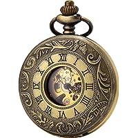 SEWOR Business Double Open Skeleton Pocket Watch Mechanical Hand Wind Movement Full Hunter Gift Bronze