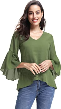 Abollria Women V Neck 3//4 Bell Sleeve Solid Casual Loose Chiffon Blouse Shirt