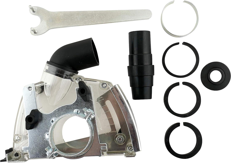 PRODIAMANT - Campana de aspiración para amoladora angular de 115 mm y 125 mm para separar sin polvo, incluye anillos adaptadores y conexión para aspiradora