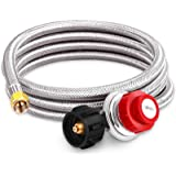 Kohree 8 FT High Pressure Propane 20 PSI Adjustable Regulator with Hose Stainless Steel Braided QCC-1 Type Connection for New