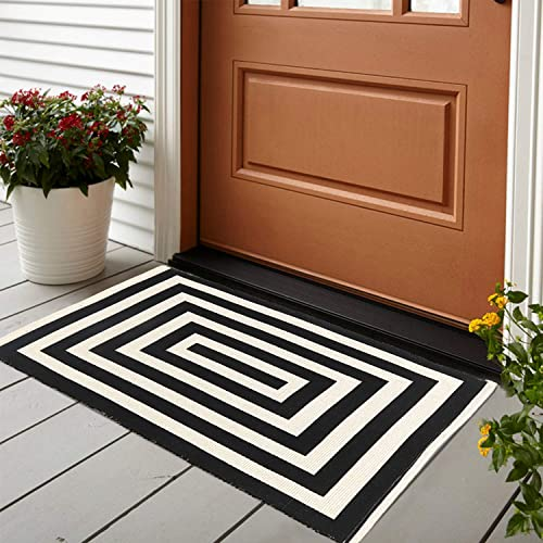 LEEVAN Cotton Doormat 2 x 3 Printed Black White Strip Area Rug Machine Washable Woven Fabric Porch Outdoor Rug Indoor Outdoor Shower Bathroom Non-Slip Doormat