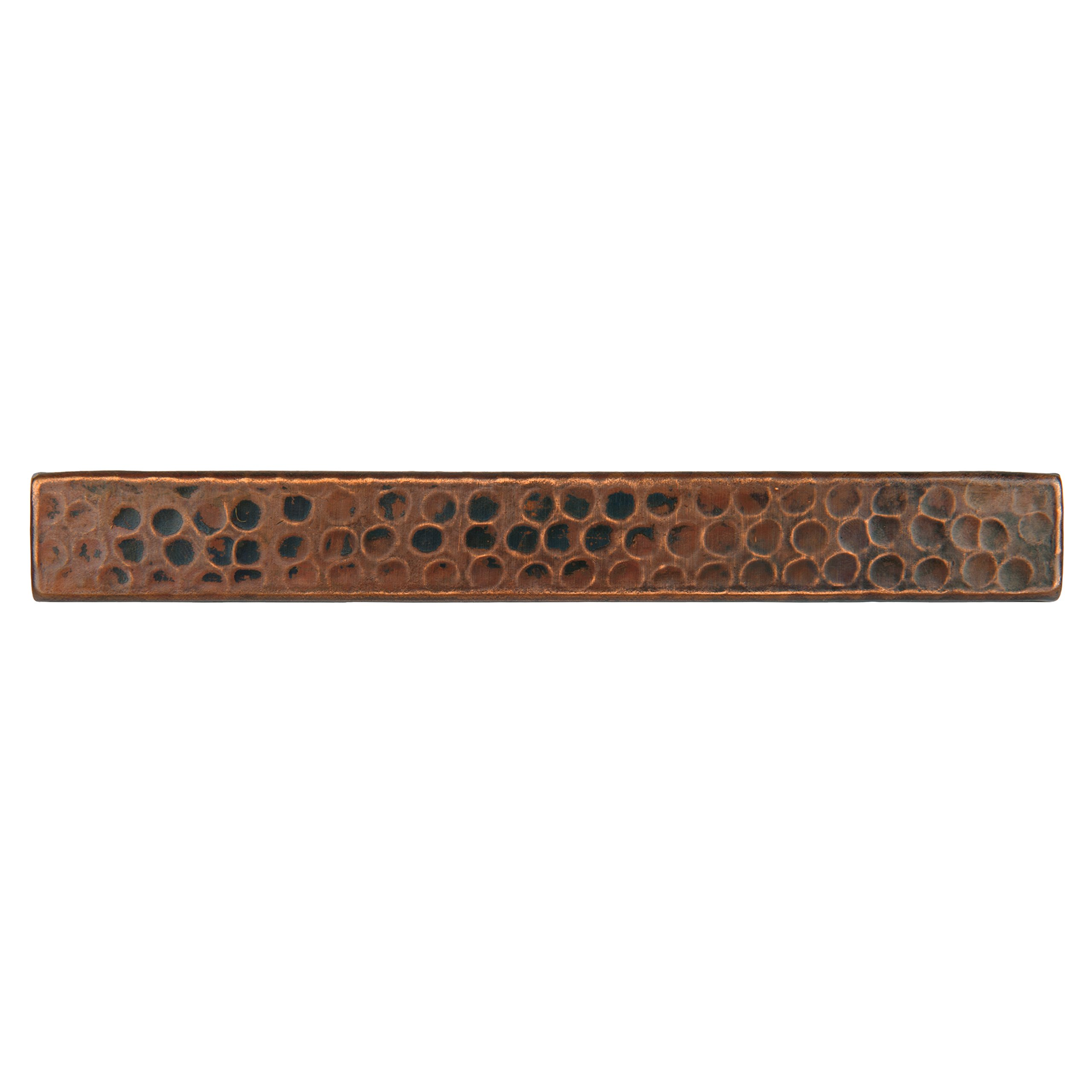 Premier Copper Products T18DBH_PKG4 1-Inch by 8-Inch Hammered Copper Tile - Quantity 4, Oil Rubbed Bronze