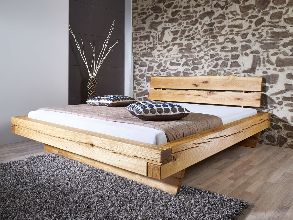 JONAS Massivholzbett Wildeiche geölt, 160 x 200 cm