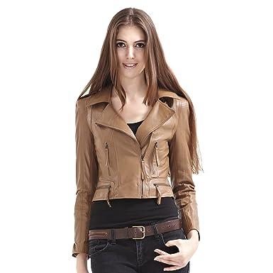 f53ad51fb68 SOPHY Women' s 100% Sheep Leather Khaki Zipper Jacket & Leather Motorcycle  Jacket