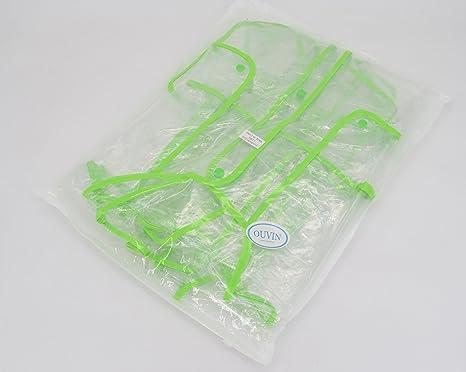 Ouvin Damen Regenmantel, transparent, mit Kapuze, EVA, leicht, lang Gr. One size, transparent-schwarz: Odzież