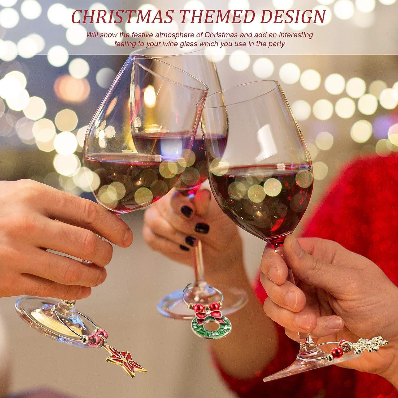 18 Encantos Colgantes de Copa de Vino de Navidad Juego de Encantos Marcadores Colgantes de Copa de Vino de Navidad Etiquetas Lindas para Copas de Vino para Navidad Suministros de Cocina