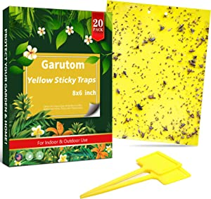 Garutom 20-Pack Dual-Sided Yellow Sticky Traps for Flying Plant Insect Such as Fungus Gnats, Whiteflies, Aphids, Leafminers, etc (6x8 Inches, Included 20pcs Twist Ties)