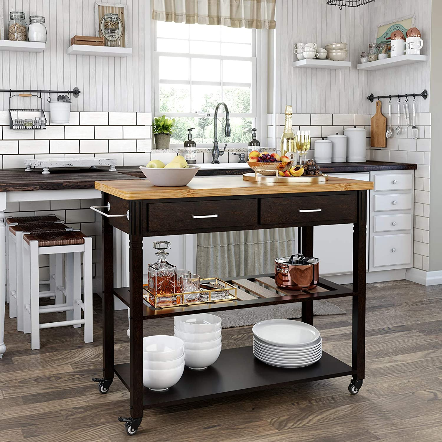 Amazon.com: VASAGLE Kitchen Island on Wheels, Carro de ...