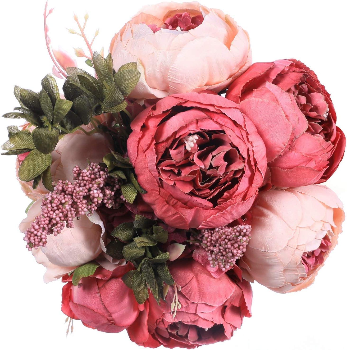 Shop Floralsecret Artificial Silk Peony Flower Vintage Fake Bouquet from Amazon on Openhaus