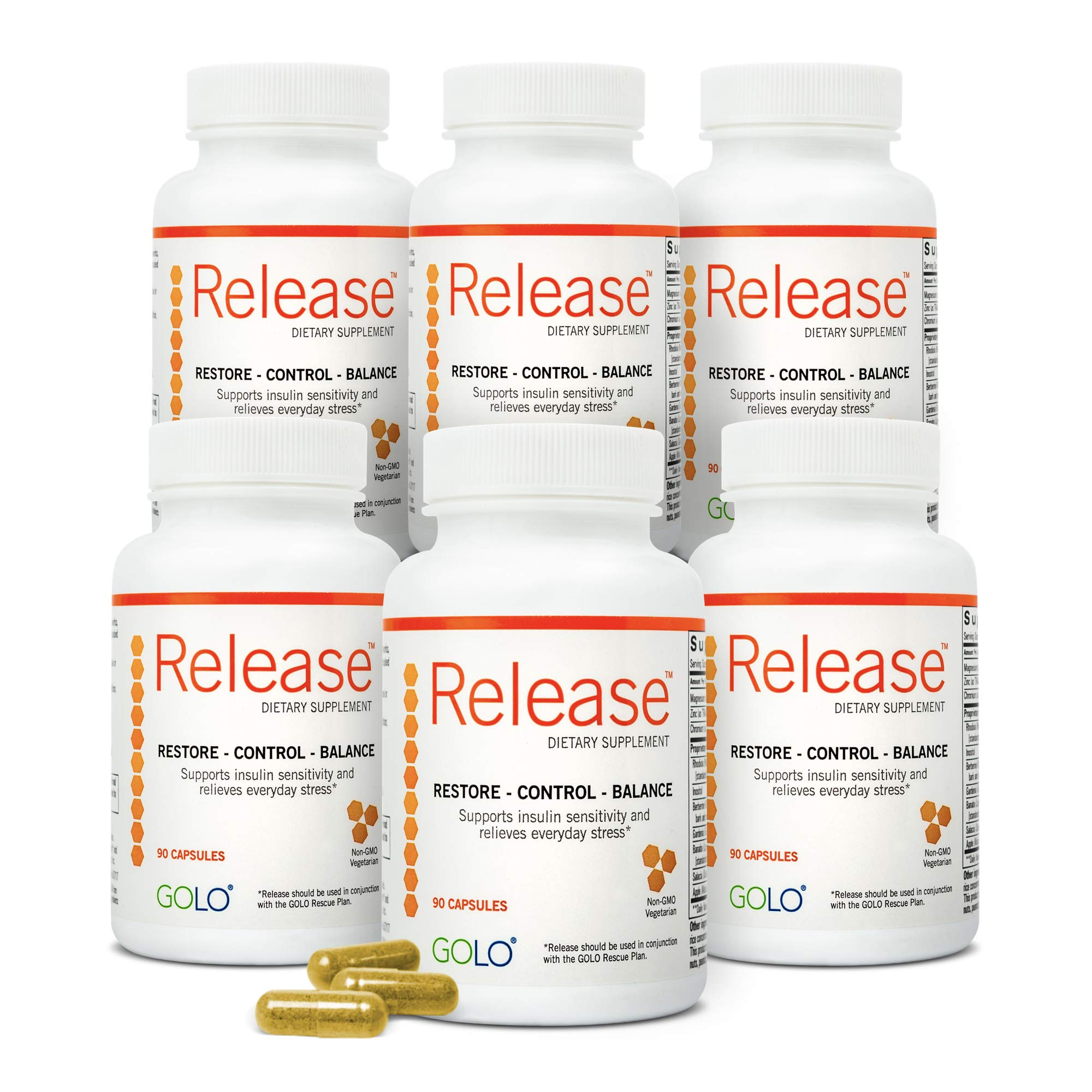 GOLO Release Diet Supplement - Natural Plant-Based Nutraceutical - Balance Hormones, Increase Metabolic Efficiency - No Caffeine, No Stimulants, Vegetarian Safe - 180 Day Supply - 540 Capsules by GOLO