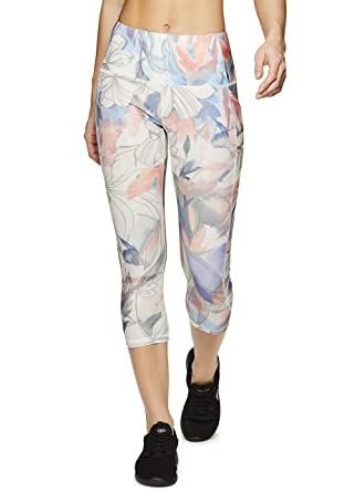 006529f2834a5 RBX Active Women's Pocket Tropical Print Yoga Capri Leggings Floral  Tropical S