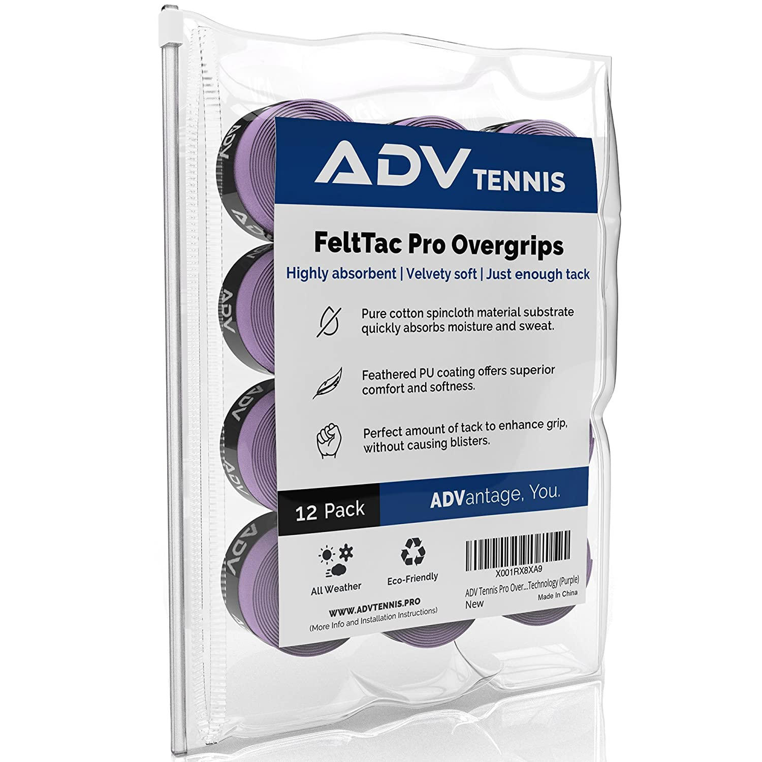 ADV Tennis Dry Overgrip - 12 Pack - Remarkably Absorbent - Must Feel Velvety Comfort - Exclusive FeltTac Material