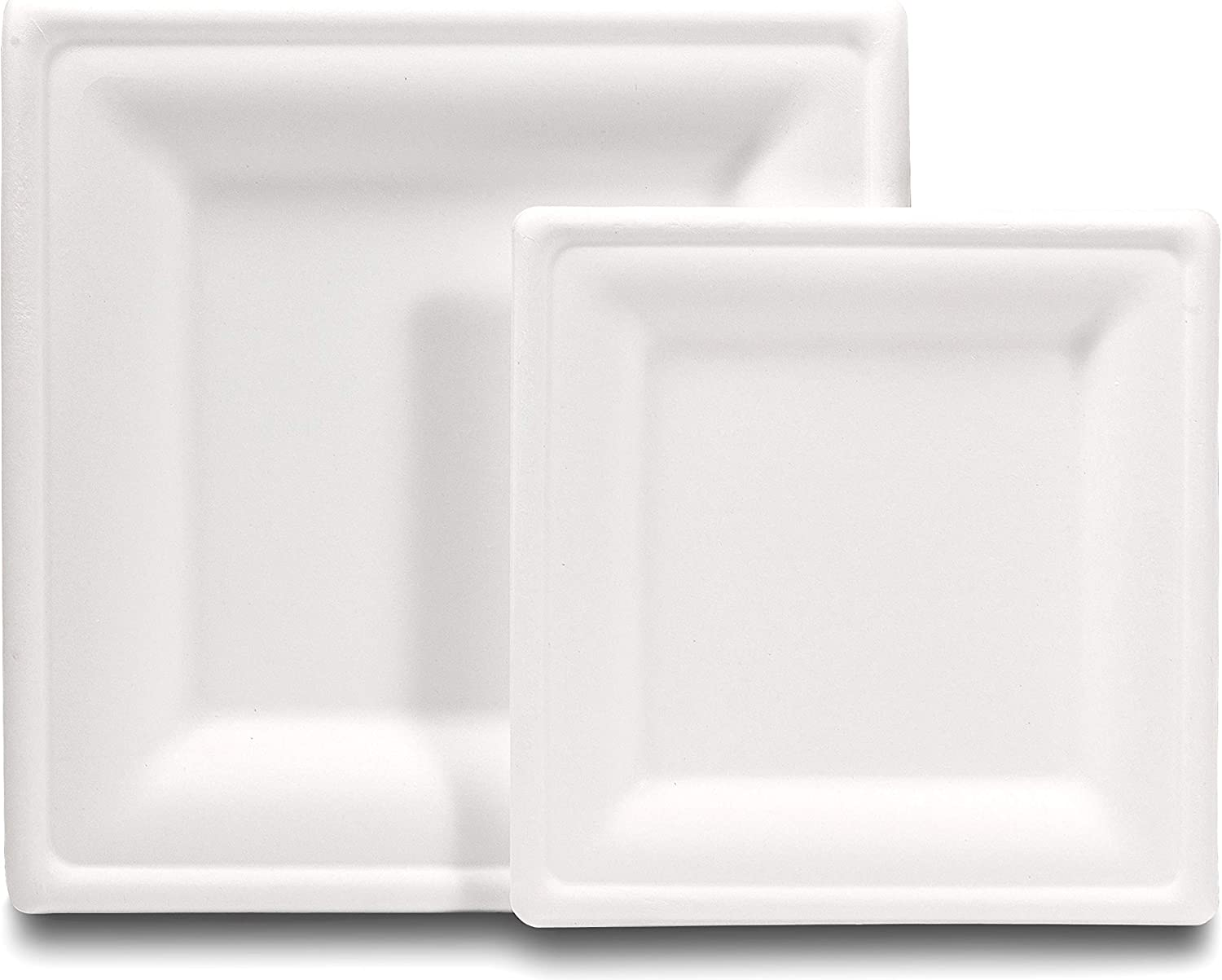 [100 COUNT] Compostable eco-friendly Square Plates 50 dinner plates and 50 dessert plates made from wheat straw fiber bagasse (sugarcane)