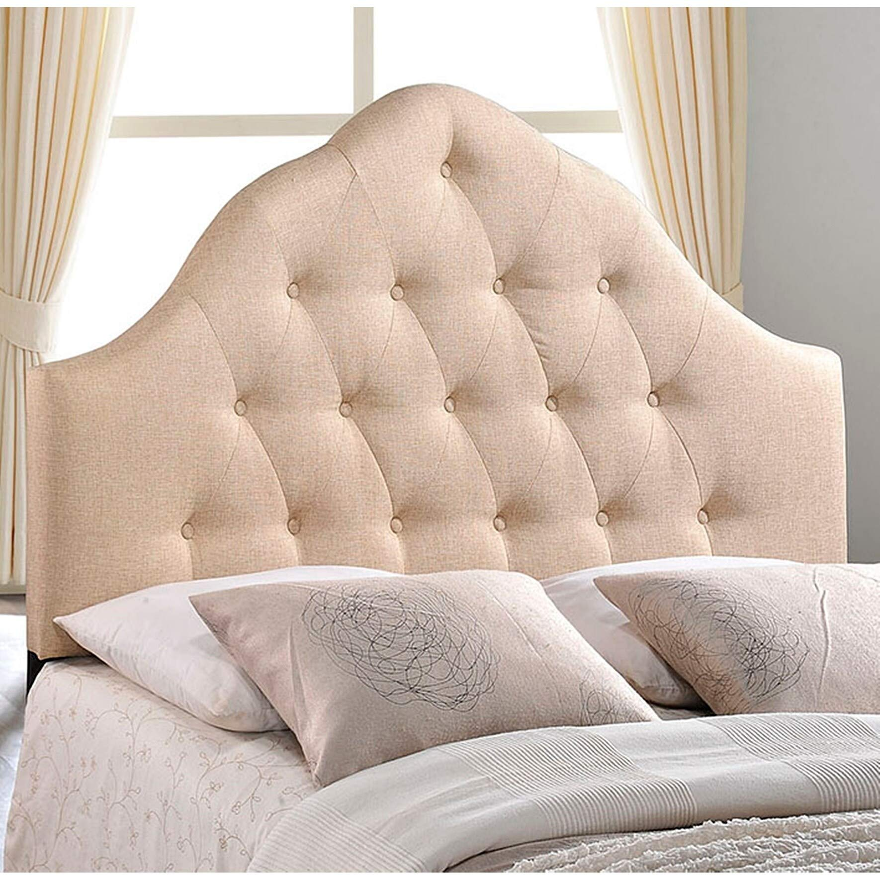 Brighton King Size Beige Fabric Upholstered Button Tufted Headboard Modern Contemporary Traditional Wood Padded by Unknown