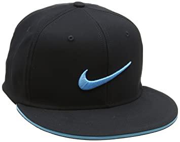 Nike Golf Adult True Statement Tour Fitted Hat-Black Beta Blue-S M ... 0fa97750fa4