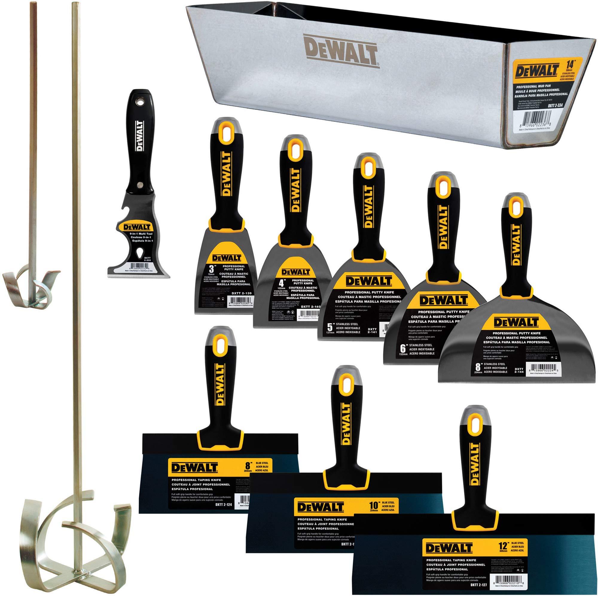 DEWALT DELUXE Blue/Carbon Steel Hand Tool Set | 8/10/12'' Taping Knives, 3/4/5/6/8'' Putty Knives, 2 Mud Mixers, 9-in-1 Painter's Multitool + FREE BONUS 14'' Mud Pan | DXTT-3-610 by DEWALT
