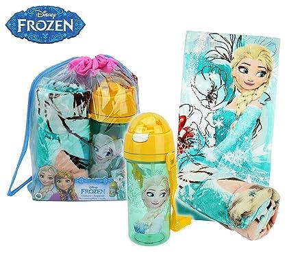 WD17015 Kit de playa, diseño de la princesa Frozen Elsa Mochila y botella de toalla