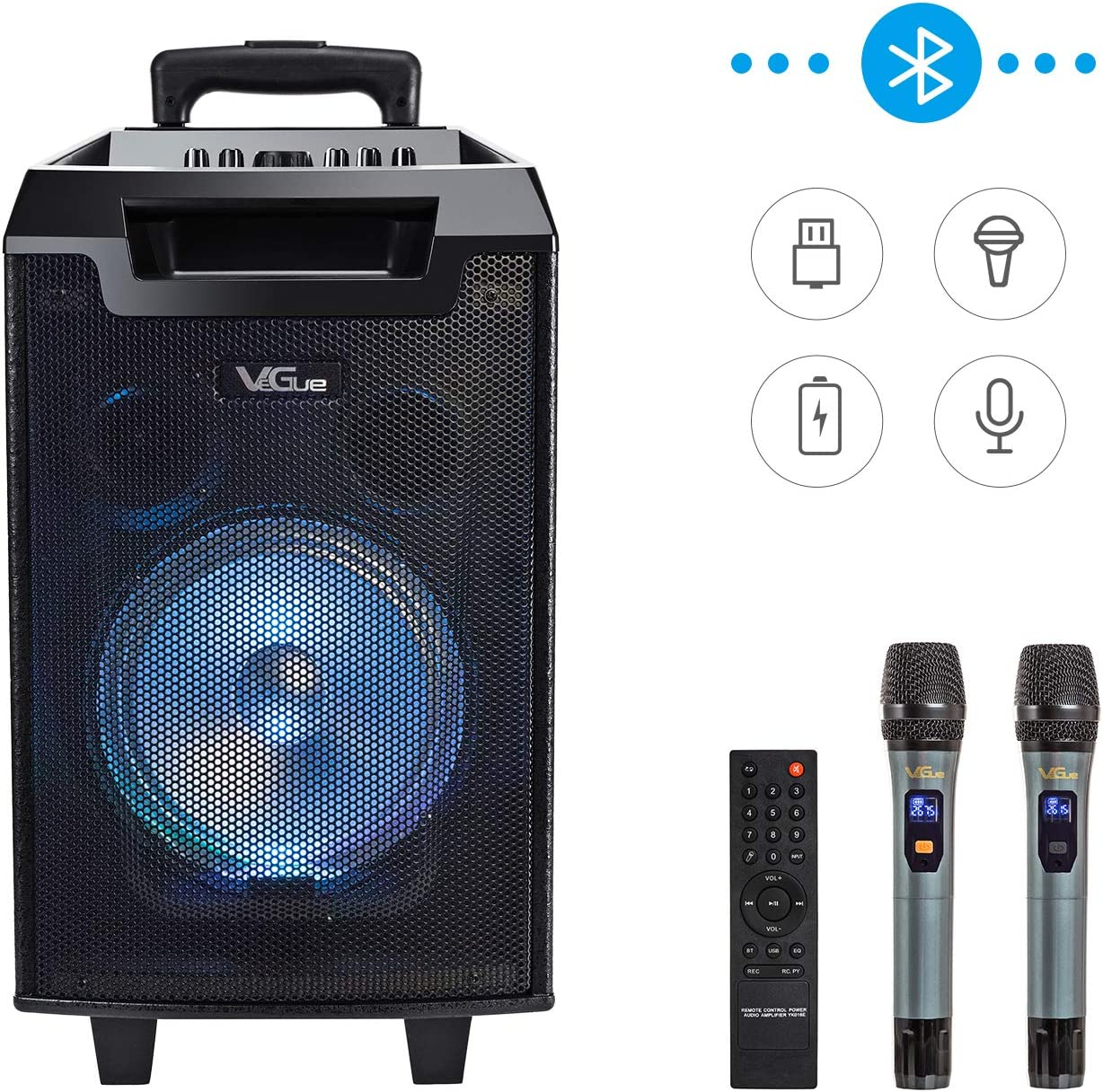 VeGue Karaoke Machine for kids and adults, Portable PA Speaker System with 8'' Woofer Bluetooth Speaker for Party, Meeting, Outdoor/Indoor Activities.