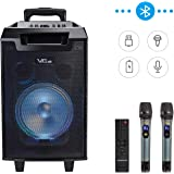 VeGue Karaoke Machine for Kids and Adults, Portable PA Speaker System with 8'' Woofer Bluetooth Speaker for Party, Meeting, Outdoor/Indoor Activities 160 W