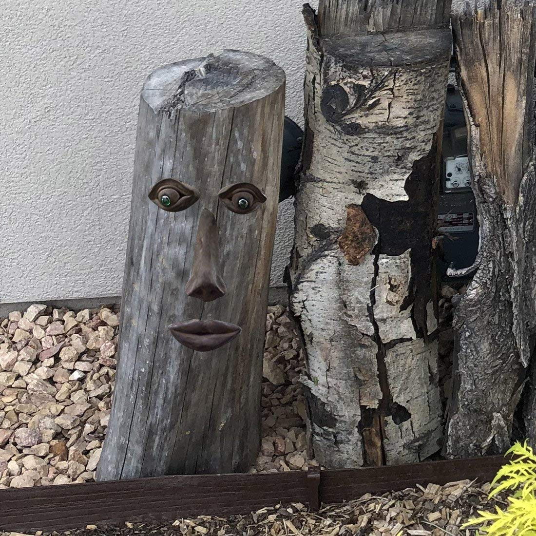 SIGMALL Garden Tree Face Sculpture Decor - Funny Outdoor Yard Art Resin Tree Tank Face Statue Decoration (Small Mouth Tree Face) by SIGMALL