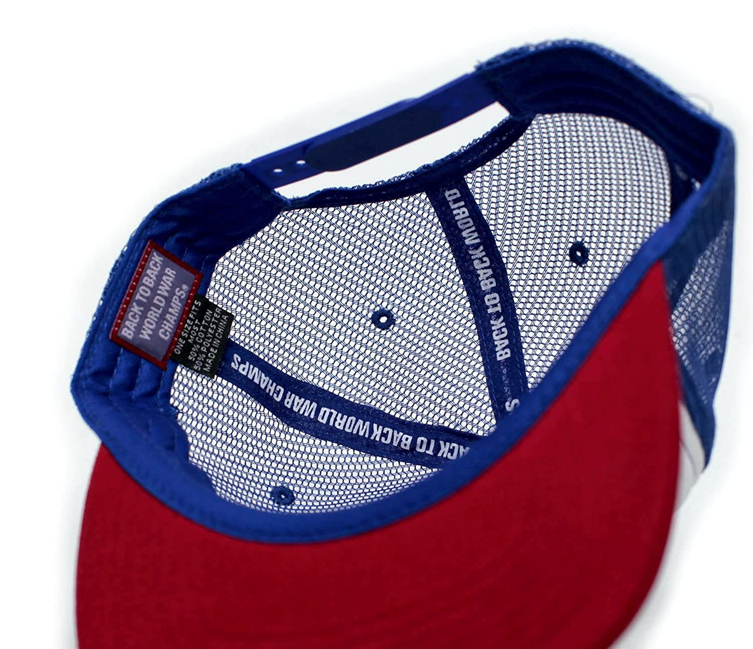 2eda4c84911 Amazon.com  Eagle Back To Back World War Champs Unisex-Adult Cap -One-Size  Royal White Red Flat  Clothing