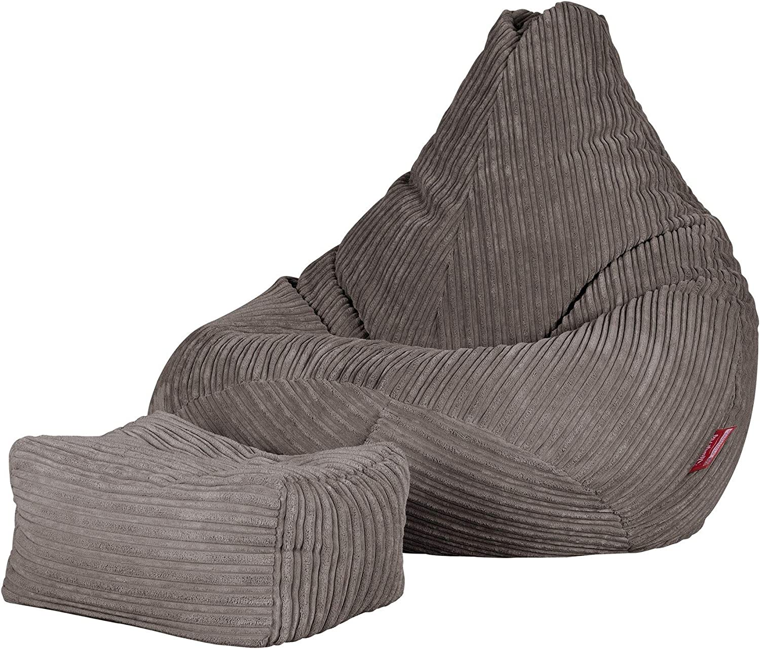Lounge Pug® - CORD - Bean Bag Footstool - Small - Graphite Grey - (Size 20cm H x 35cm D x 45cm Wide) Grey