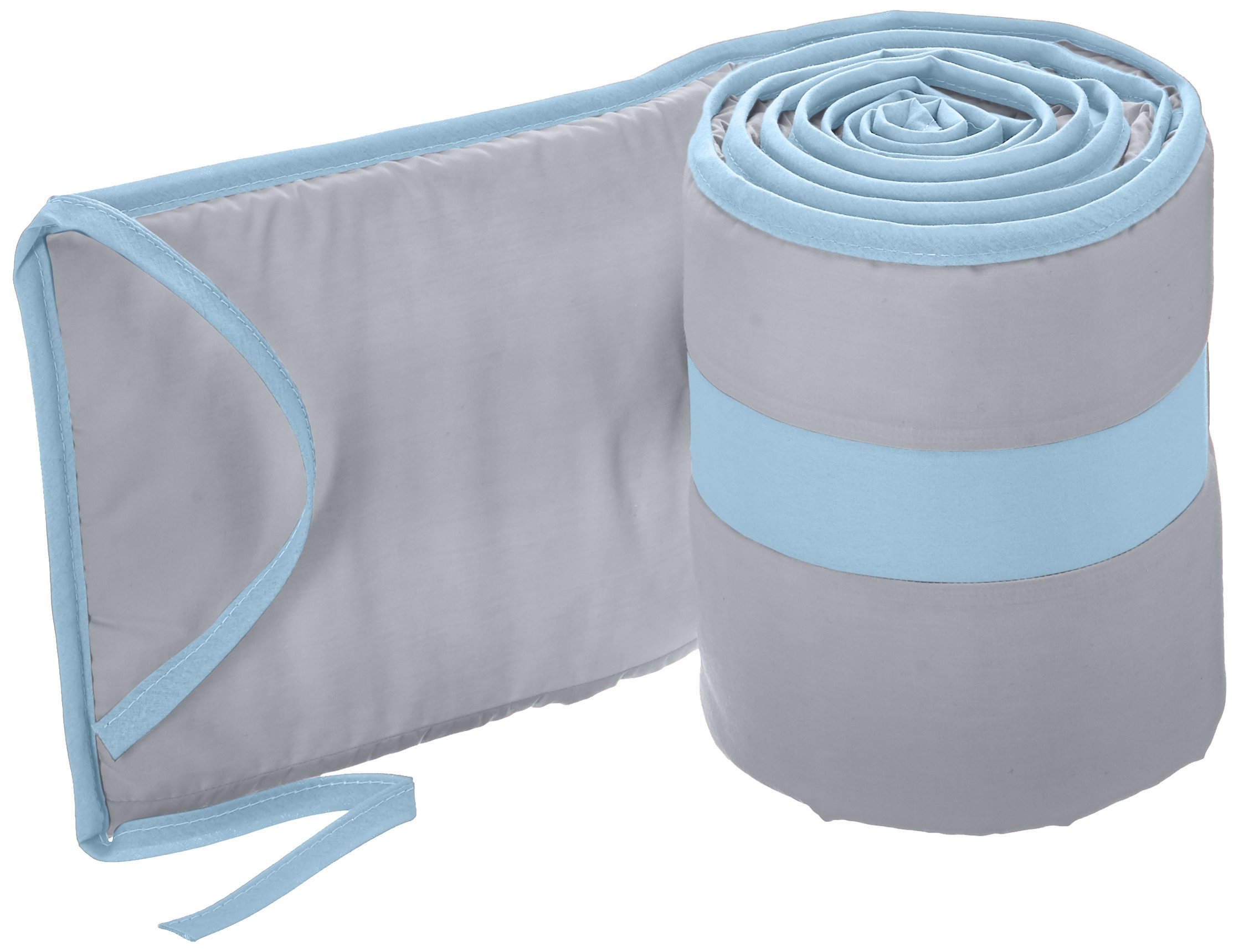 Babykidsbargains Solid Colored Stripe Cradle Bumper, Grey/Blue, 18'' x 36''