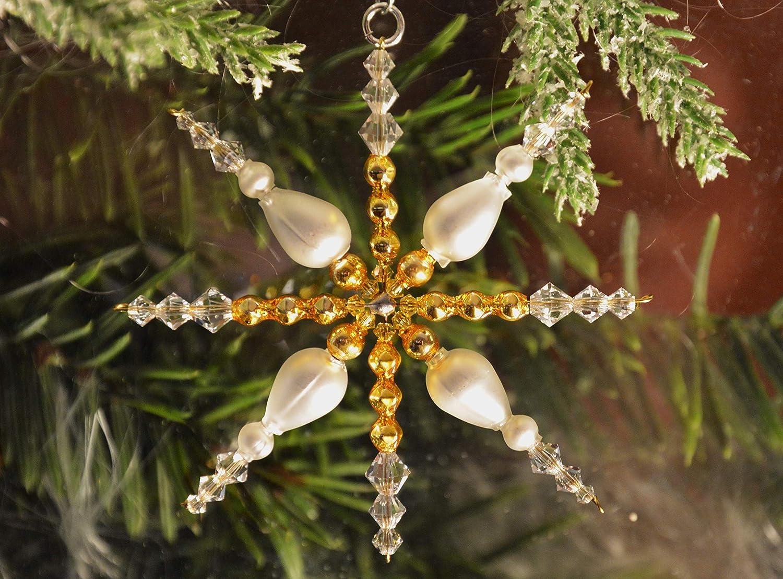 Weihnachtsstern ca. 7, 5 cm Ø aus böhmischen Hohlglasperlen und Kristallen von Swarovski®