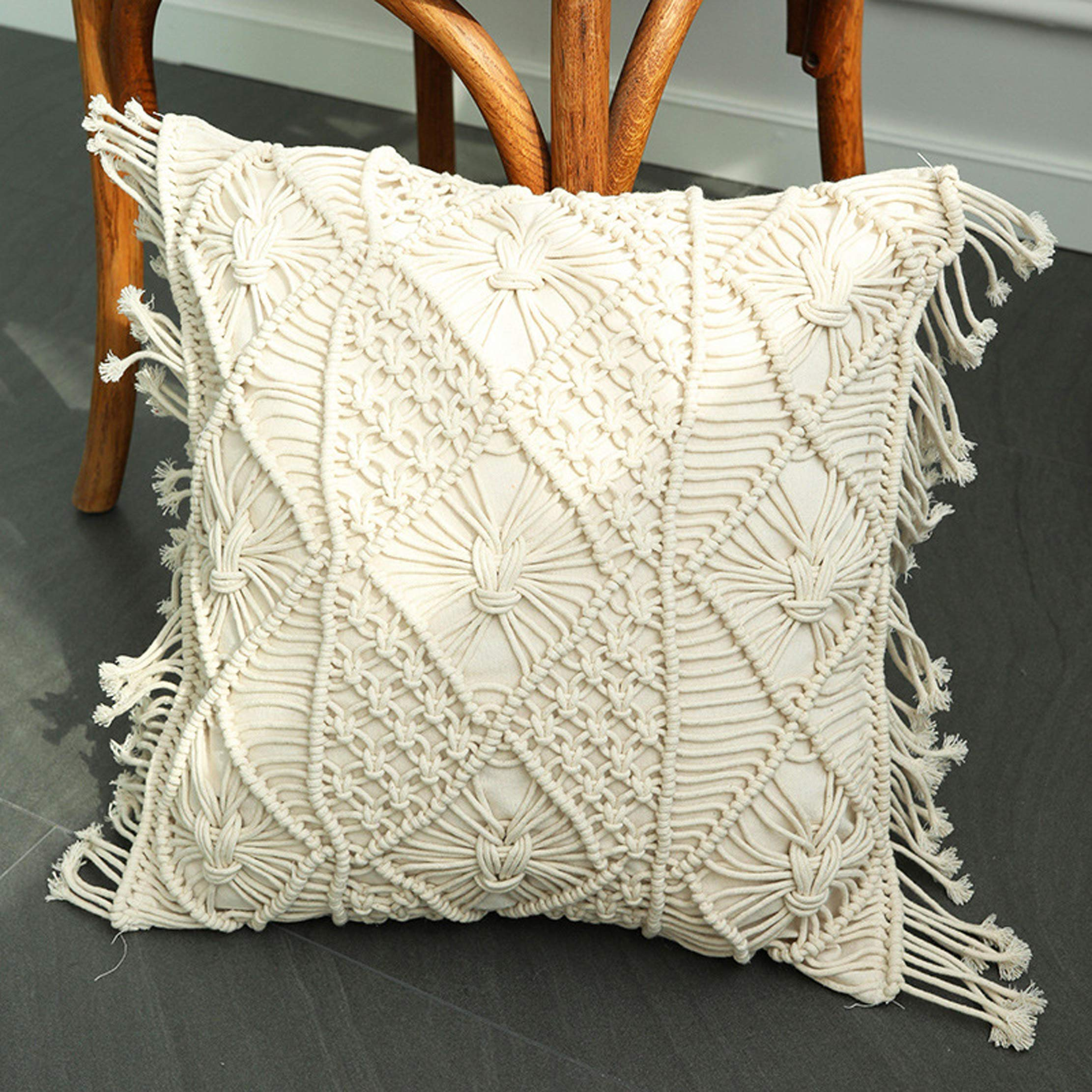 CDM product famibay Handmade Woven Pillow Cover Square Macrame Cushion Cover Boho Decorative Cable Rope Tassels Accent Pillow Case Home Sofa Bed Living Room Chair 18 x 18 Inch Natural White big image