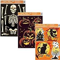 Paquete único de 3 adhesivos para ventanas de Halloween | esqueleto, sonrisa de calabaza, espeluznante hueco…
