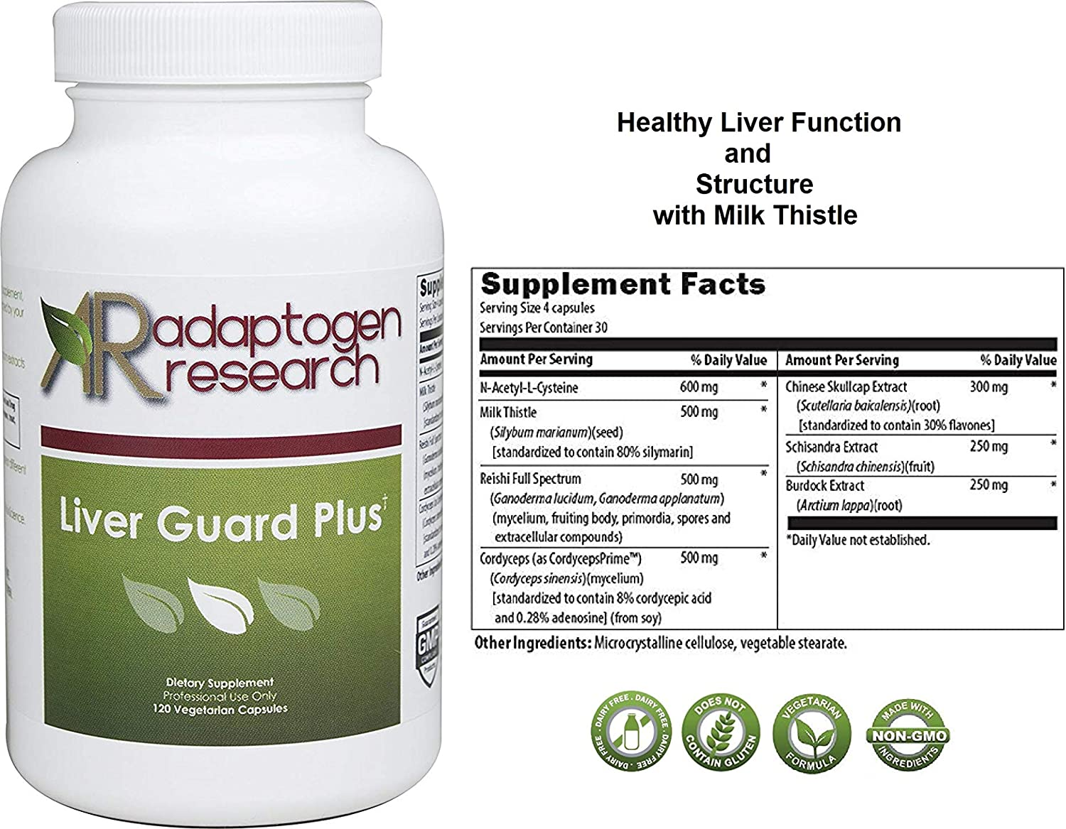 Adaptogen Research Liver Guard Plus Liver Support Cleanse Detox Milk Thistle NAC Reishi Cordyceps 120 Vegetarian Capsules